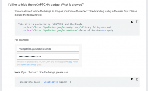 I'd like to hide the reCAPTCHA badge.